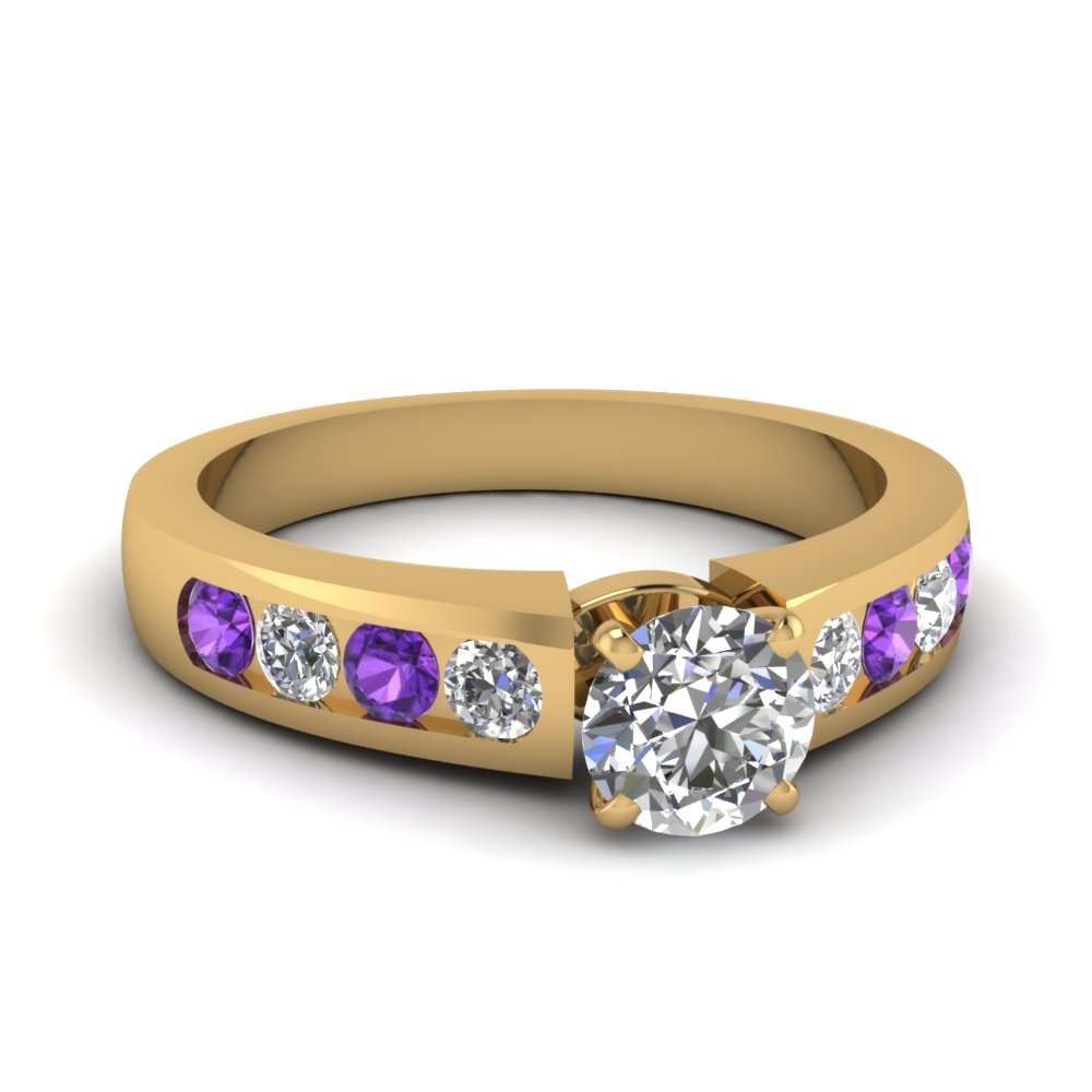 round cut diamond channel set engagement ring with violet topaz in FDENR1274RORGVITO NL YG.jpg