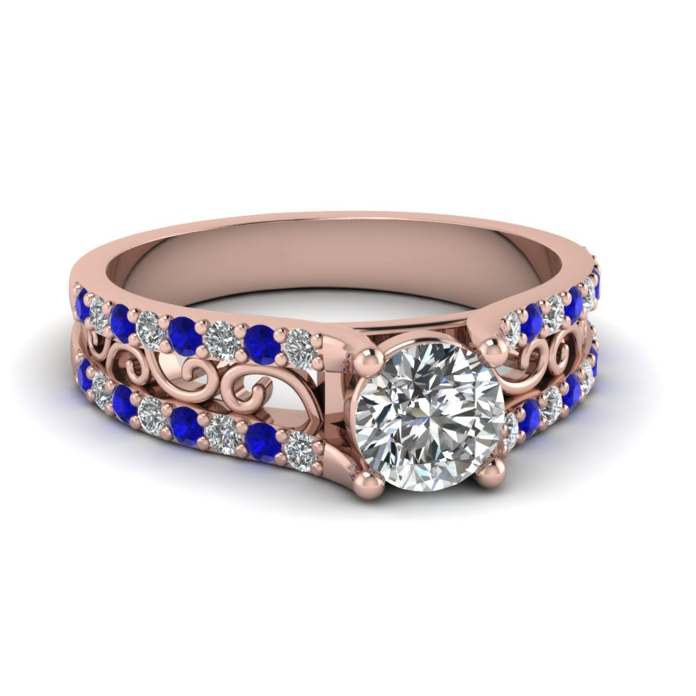 charm filigree vintage diamond engagement ring with sapphire in FD65515RORGSABL NL RG