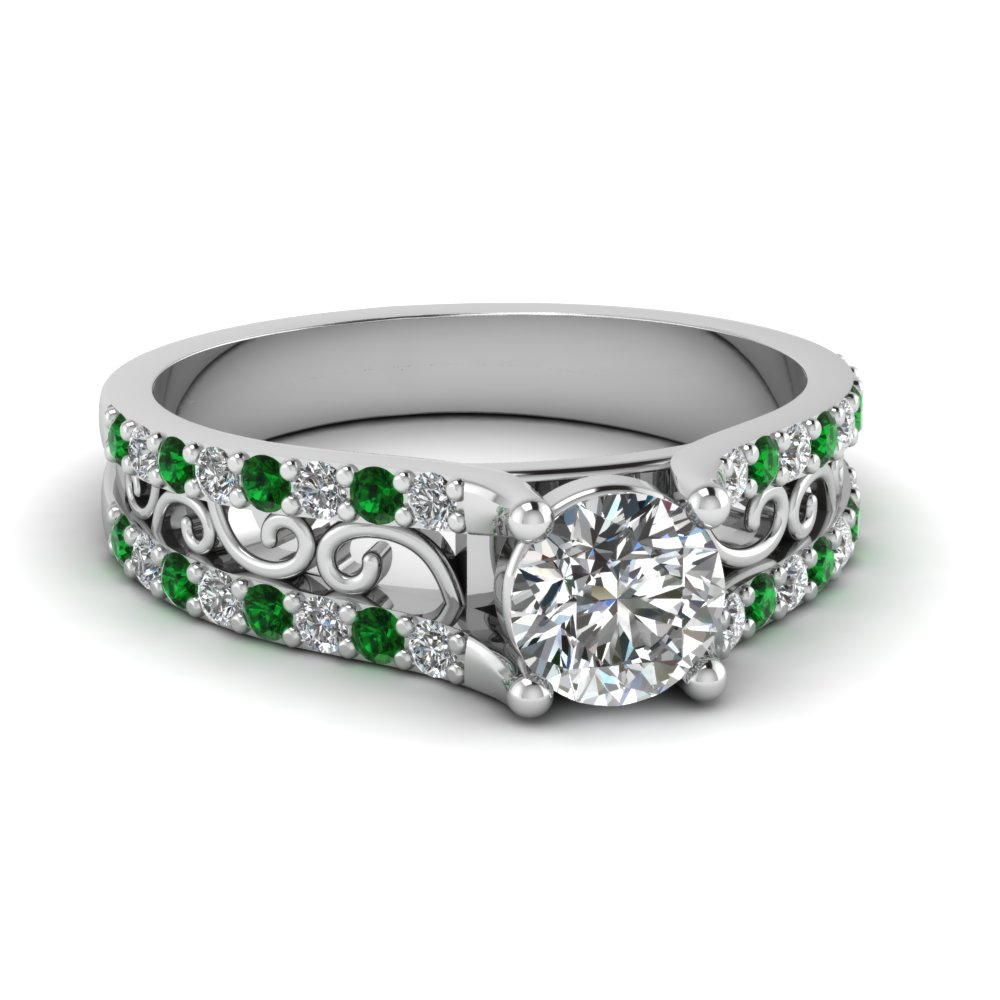 Round Cut Diamond Charm Filigree Vintage Engagement Ring With Green Emerald In 18K White Gold