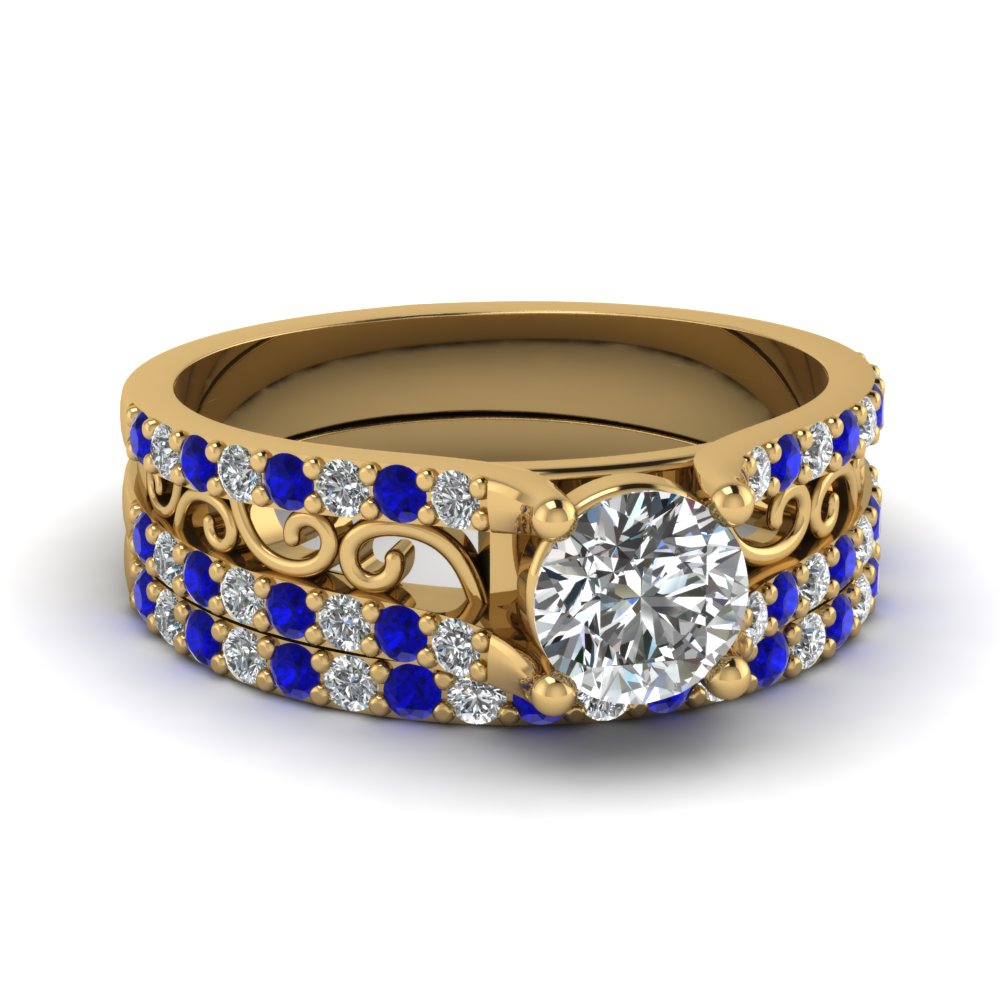 round cut diamond scrollwork wedding ring with blue sapphire in 14K yellow gold FD65515ROGSABL NL YG