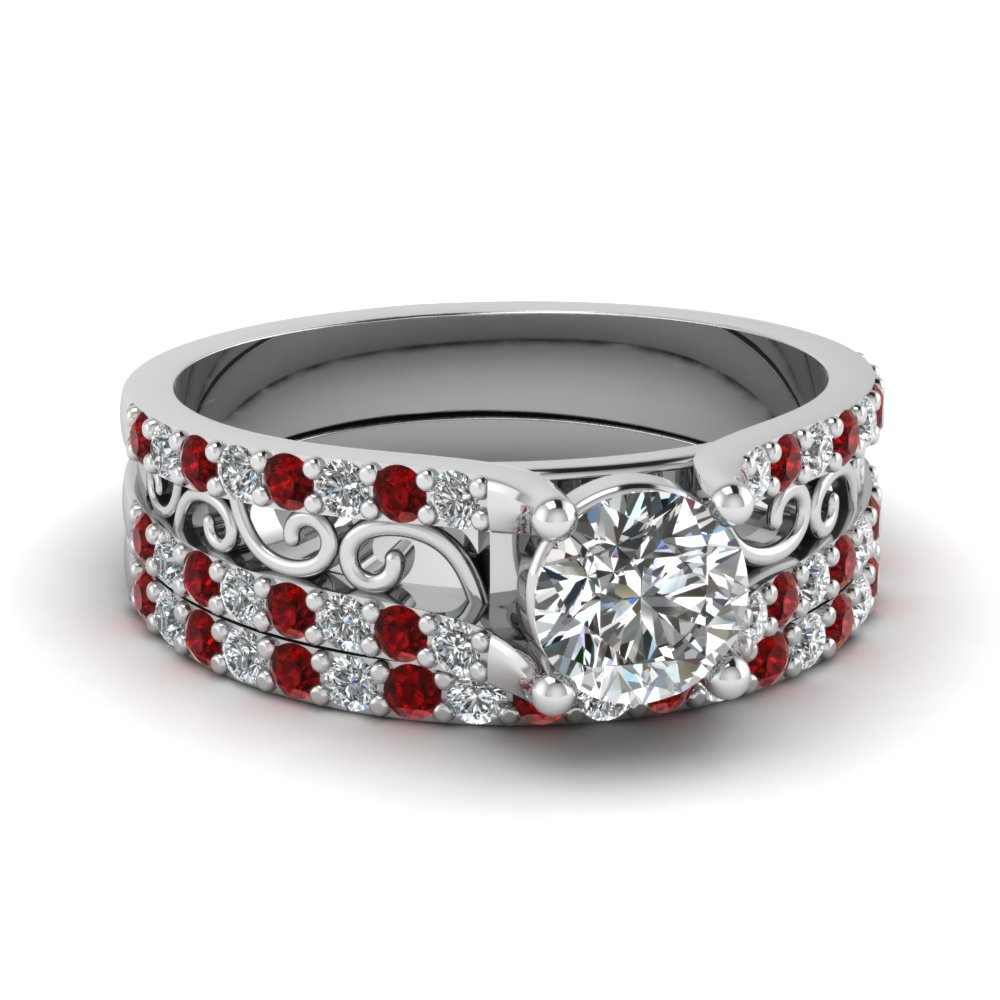 round cut diamond scrollwork wedding ring with red ruby in 14K white gold FD65515ROGRUDR NL WG