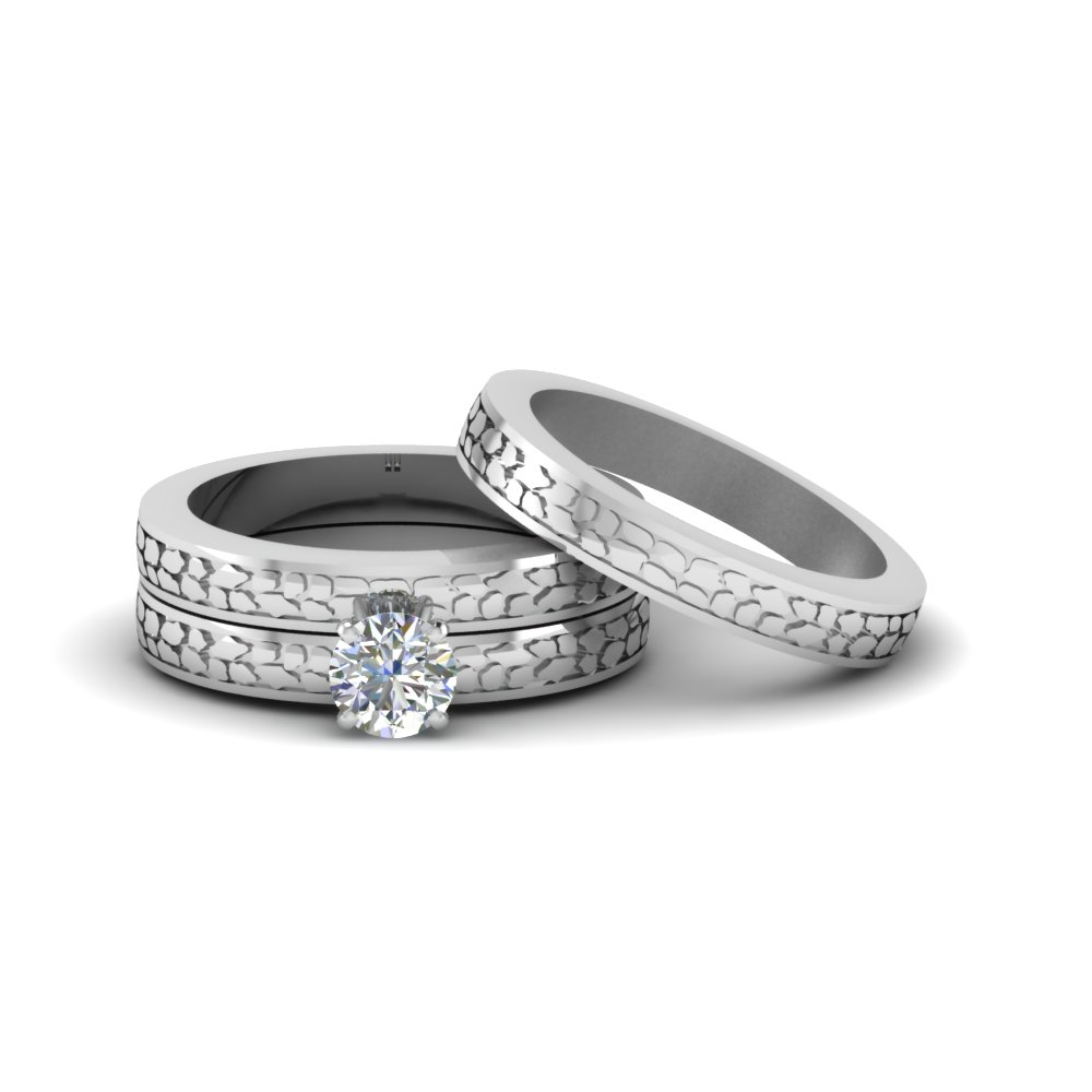 Search Our 14k White Gold Trio Wedding Ring Sets Fascinating Diamonds