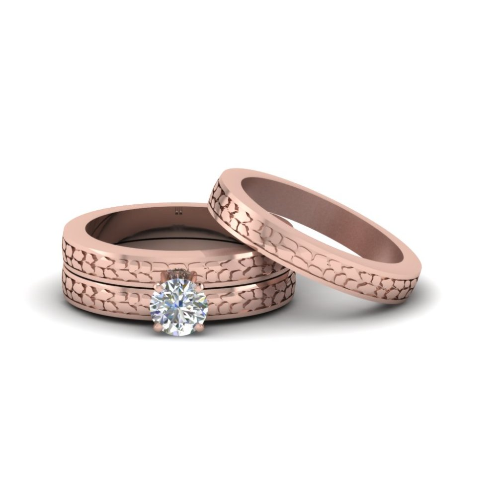 round cut diamond cheap trio wedding ring sets for couples in fd8229tro nl rg - Rose Gold Wedding Ring Sets