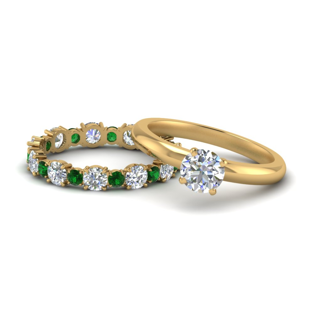 classic-round-cut-diamond-solitaire-with-emerald-eternity band-set-in-FD9113ROGEMGR-NL-YG