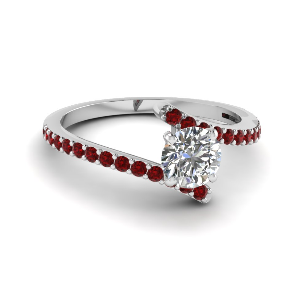 Round Cut Diamond Colorful Engagement Ring With Red Ruby In 14K