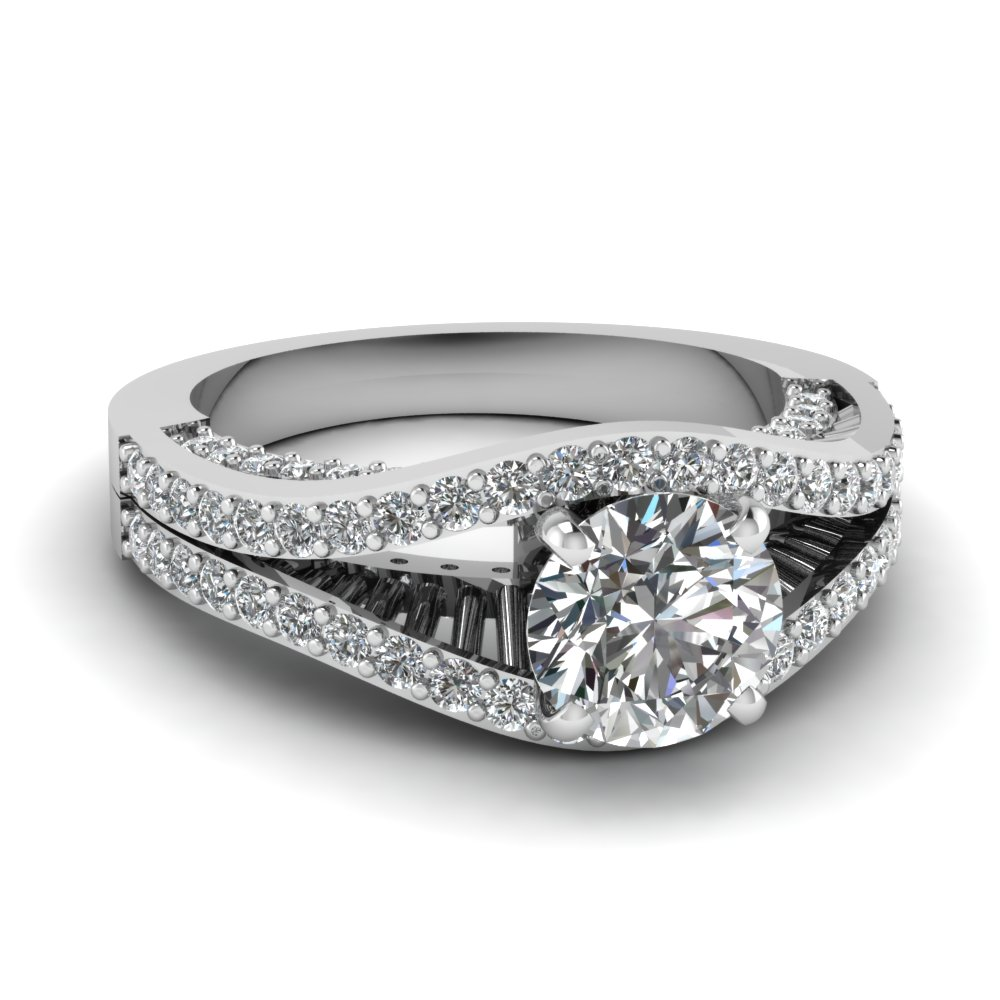 Floating Prong Round Split Band Beautiful Diamond Ring