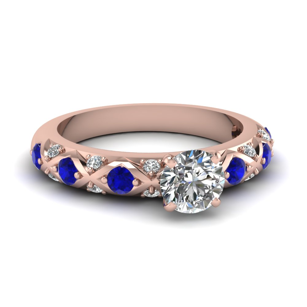 Criss Cross 14k Rose Gold Side Stone Engagement Rings
