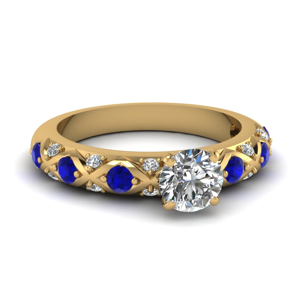 round cut diamond cross band side stone engagement ring with sapphire in FDENS1482RORGSABL NL YG