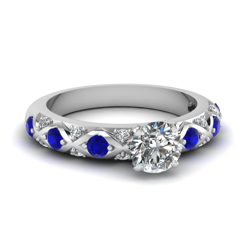 round cut diamond cross band side stone engagement ring with blue sapphire in 18K white gold FDENS1482RORGSABL NL WG