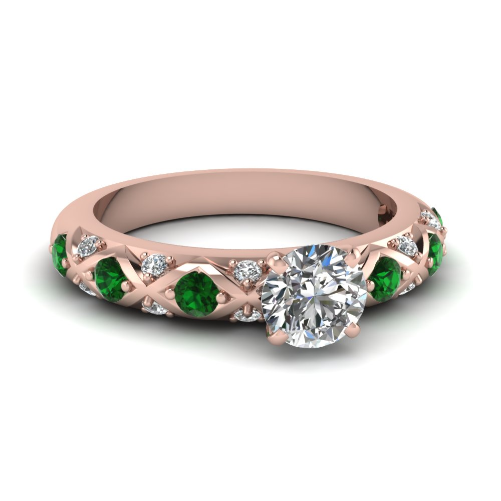 round cut diamond cross band side stone engagement ring with green emerald in 14K rose gold FDENS1482RORGEMGR NL RG