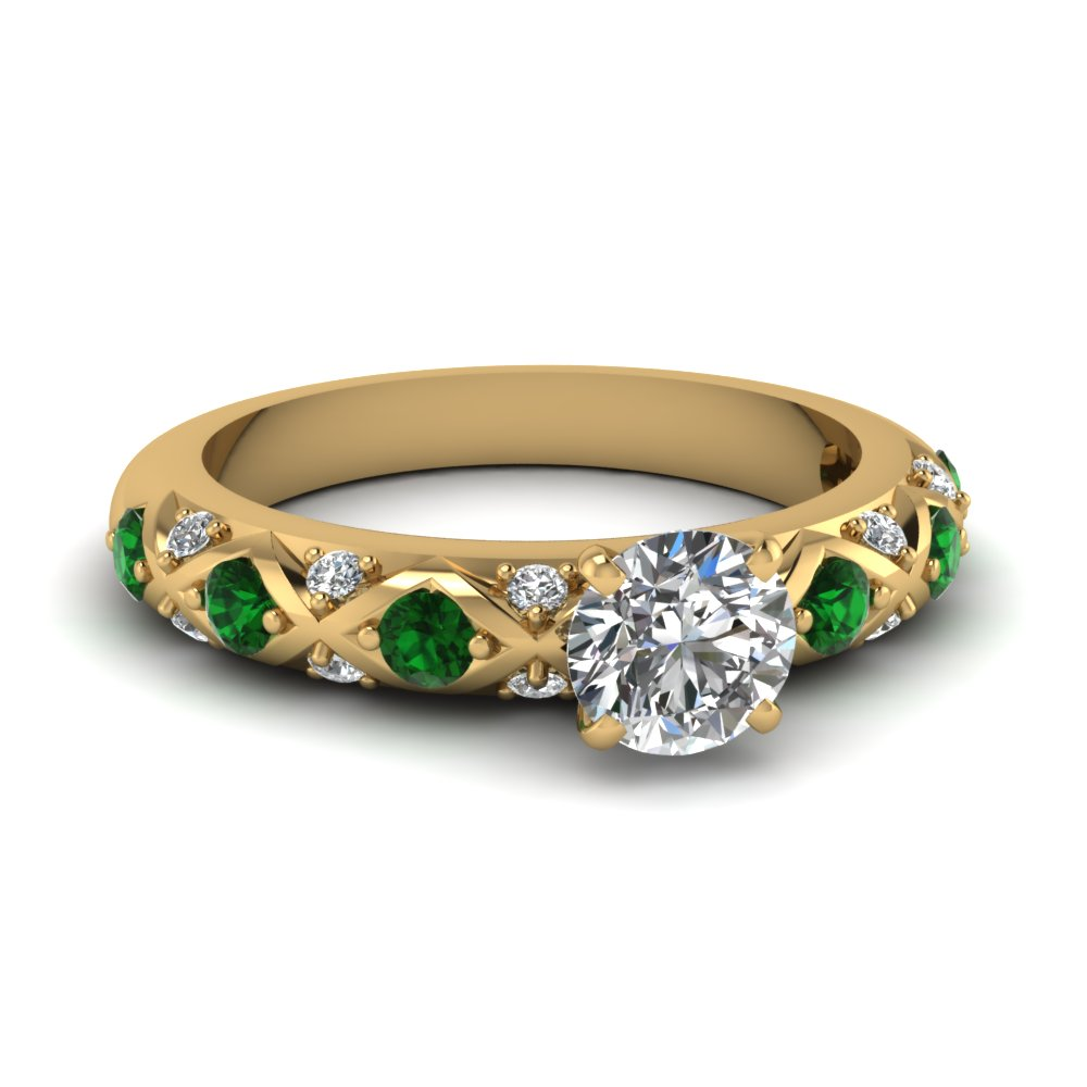 cross design round cut pave diamond engagement ring with emerald in FDENS1482RORGEMGR NL YG