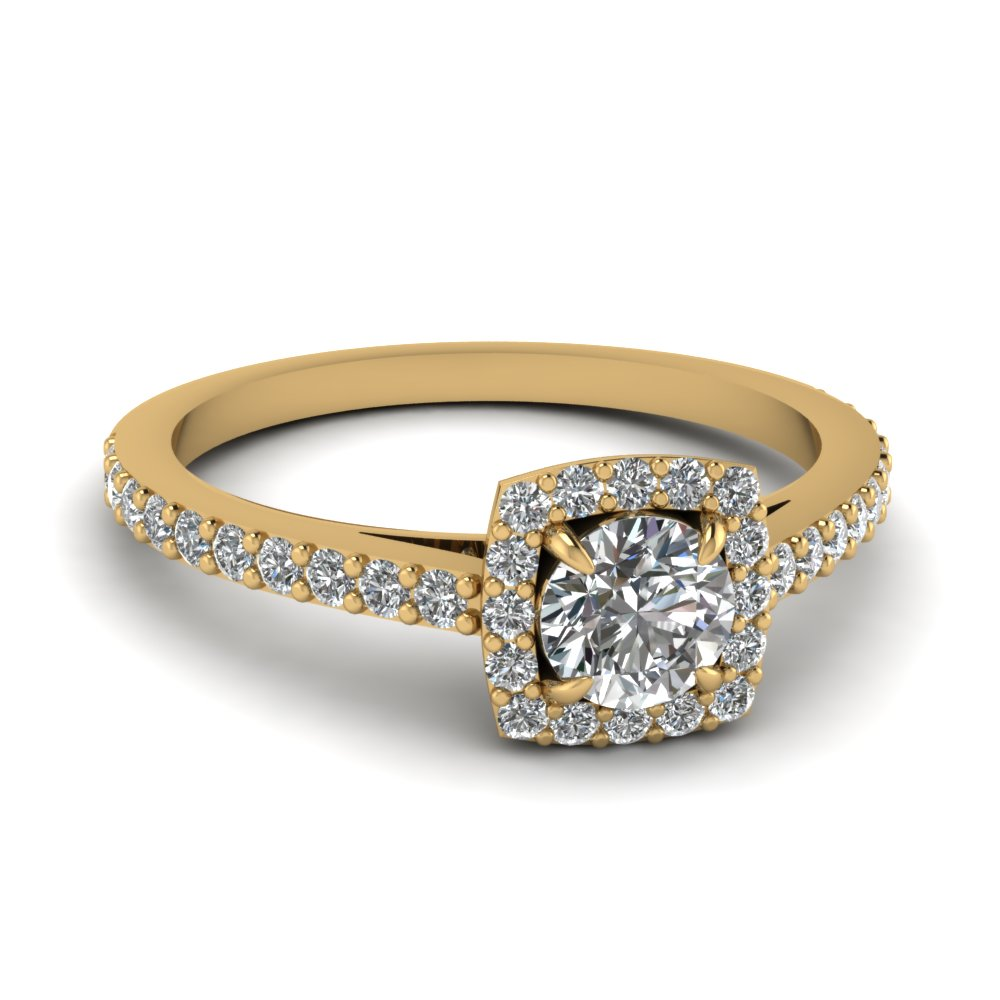 0.50 carat diamond petite halo engagement ring in FD1176ROR NL YG
