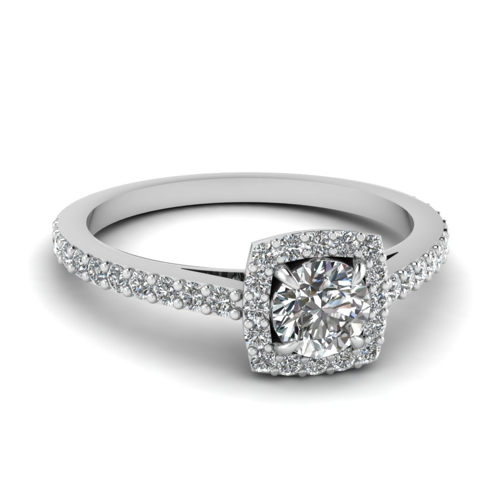 engagement ring rings diamond profile square setting with pav cut in tinker side halo pave radiant