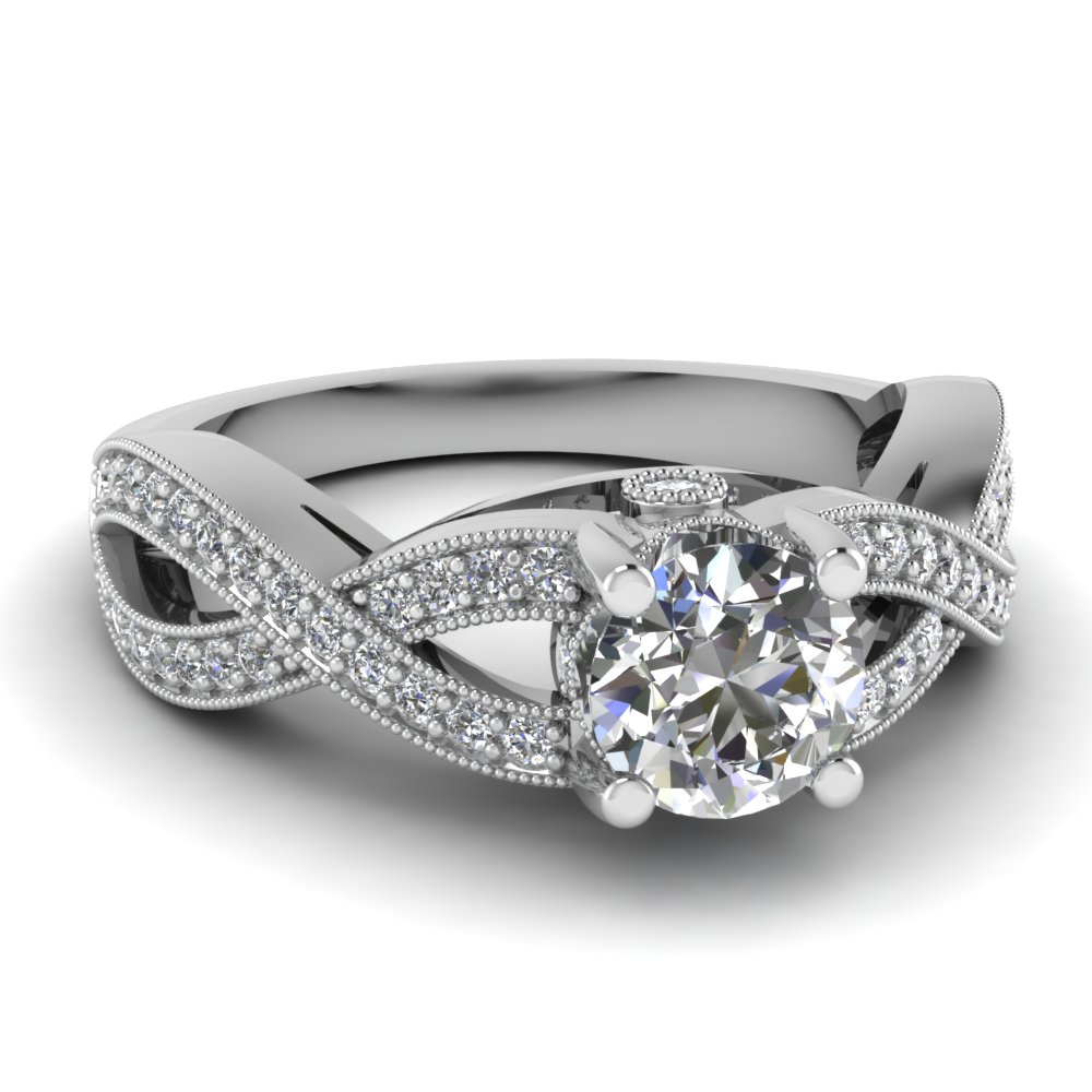 Intertwined Round Cut Diamond Engagement Ring
