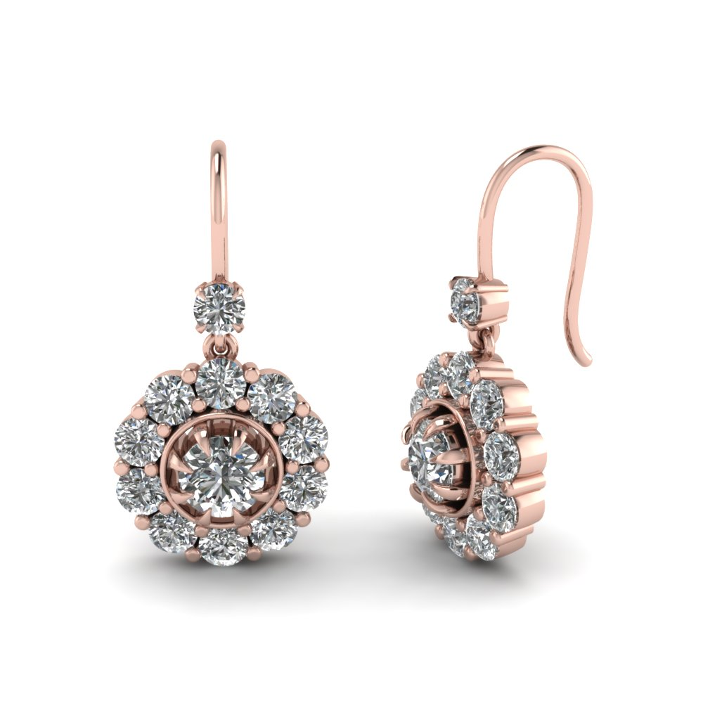 floral drop diamond dangle earring in FDEAR1128 NL RG.jpg