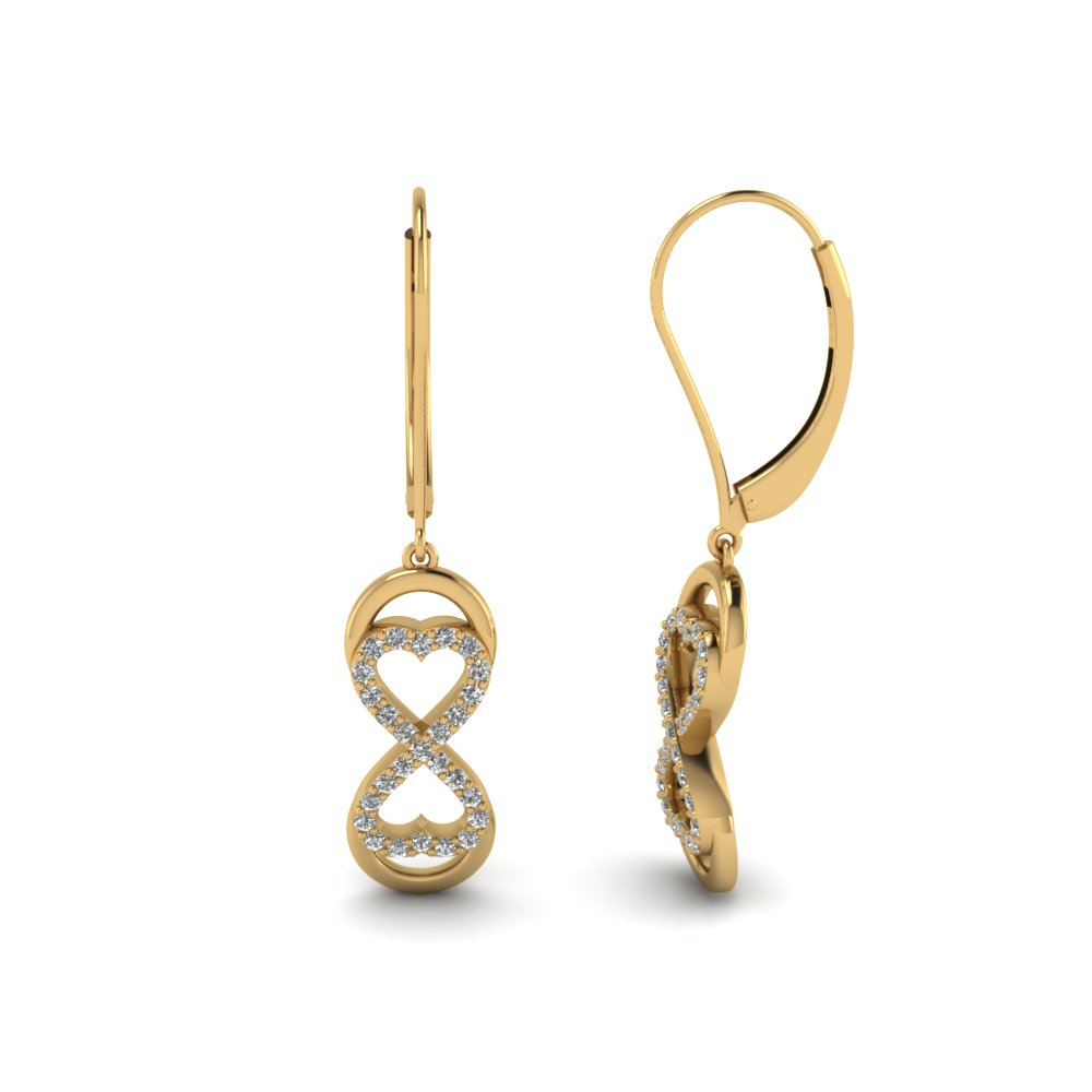 Yellow Gold Womens Infinity Drop Earrings