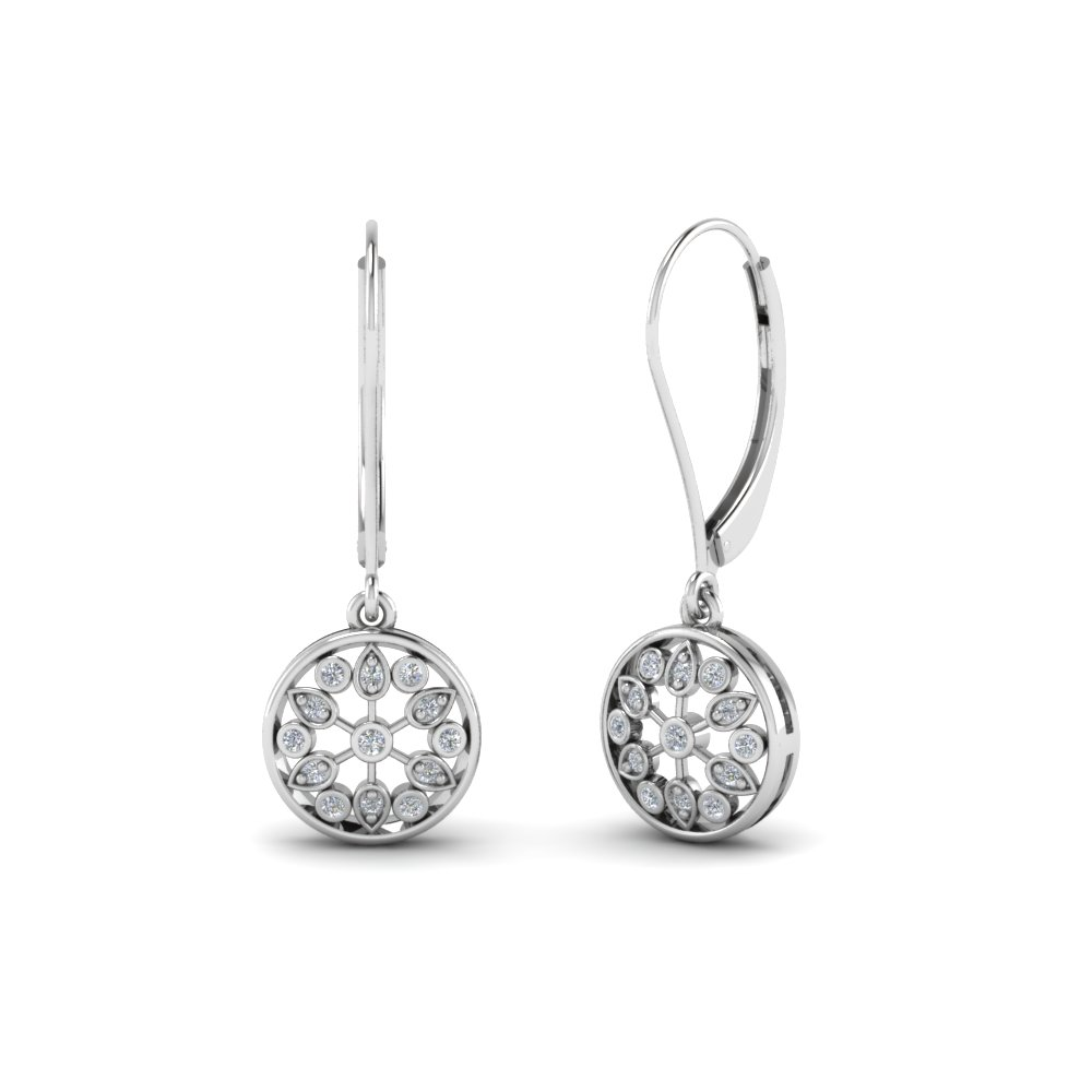 round cut diamond drop earrings in 14K white gold FDEAR67993 NL WG