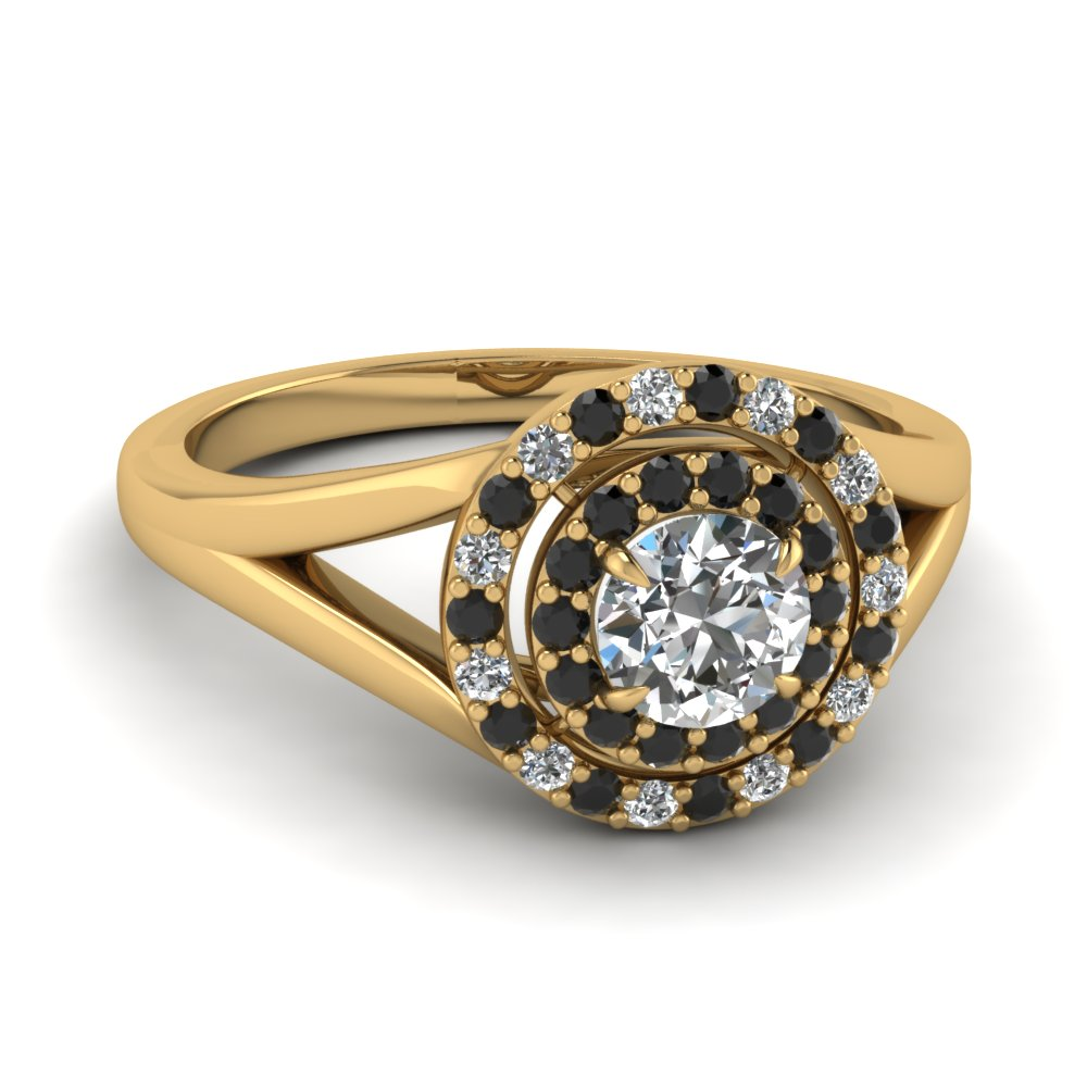 split engagement ring with halo black diamond in 14K yellow gold FD1184RORGBLACK NL YG