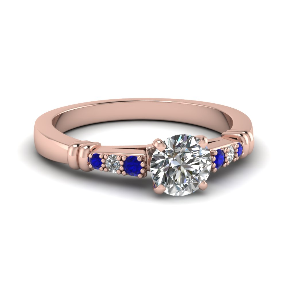 pave bar set round cut diamond engagement ring with sapphire in FDENS363RORGSABL NL RG