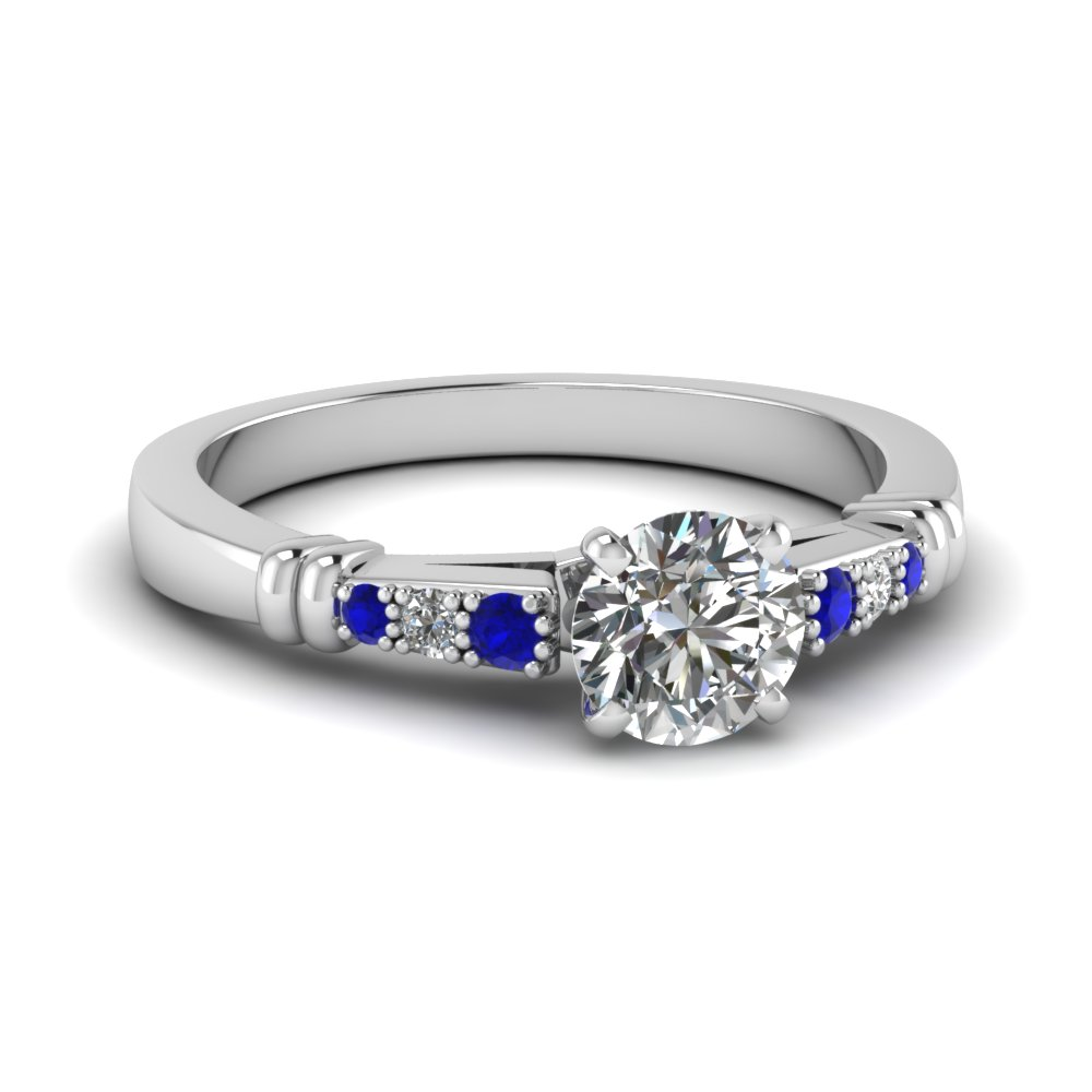 pave bar set round cut diamond engagement ring with sapphire in FDENS363RORGSABL NL WG