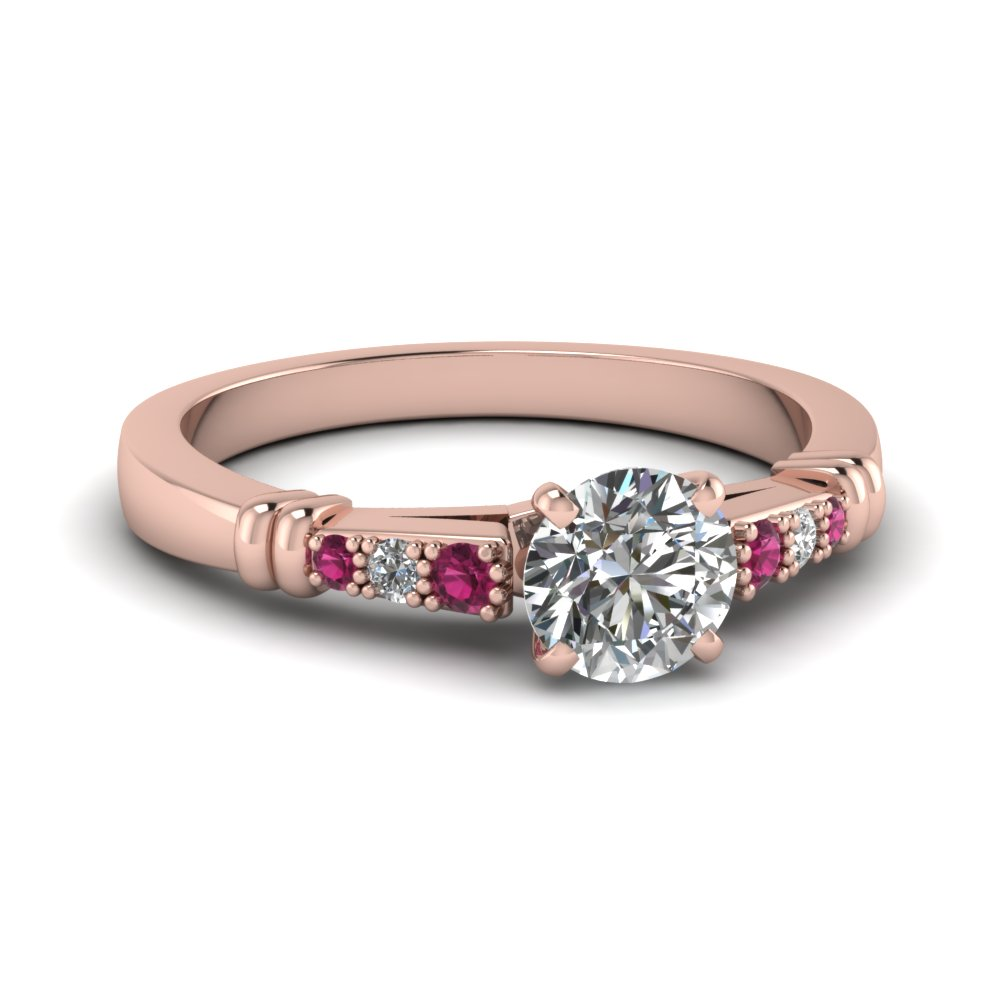 pave bar set round cut diamond engagement ring with pink sapphire in FDENS363RORGSADRPI NL RG