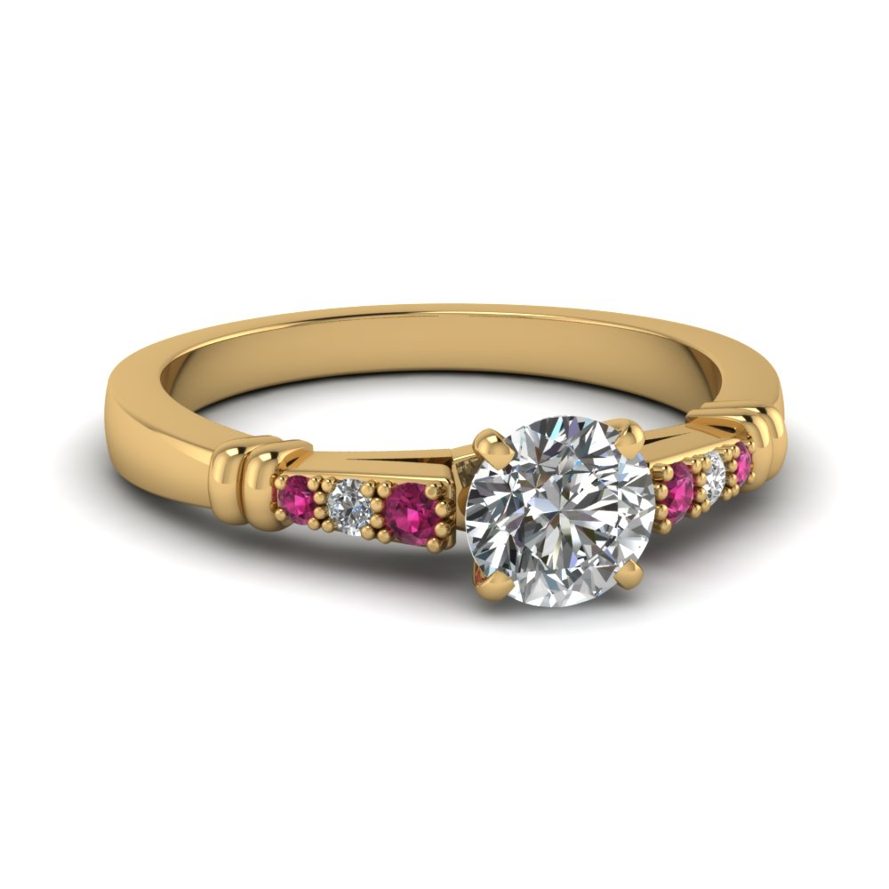 pave bar set round cut diamond engagement ring with pink sapphire in FDENS363RORGSADRPI NL YG
