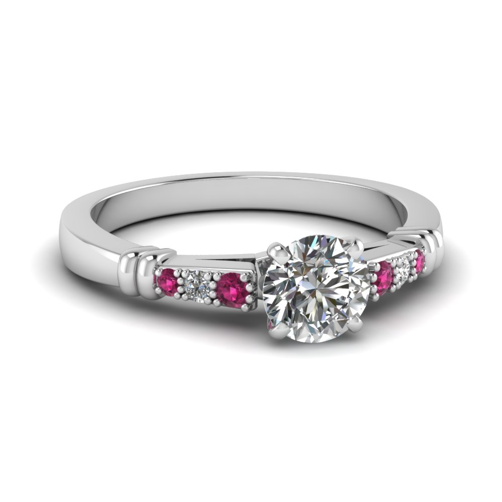 pave bar set round cut diamond engagement ring with pink sapphire in FDENS363RORGSADRPI NL WG