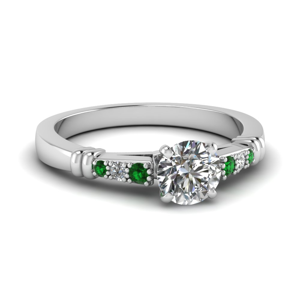 pave bar set round cut diamond engagement ring with emerald in FDENS363RORGEMGR NL WG