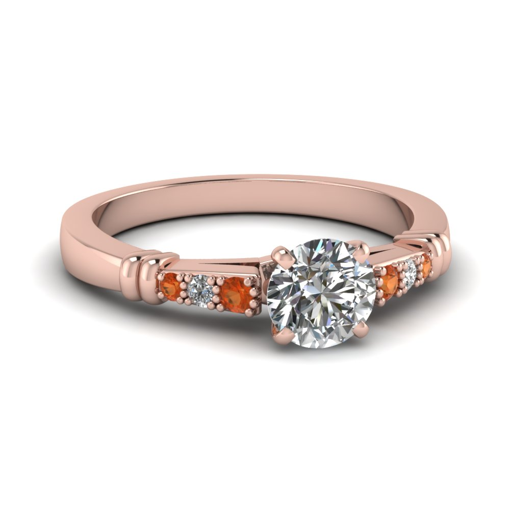 pave bar set round cut diamond engagement ring with orange sapphire in FDENS363RORGSAOR NL RG