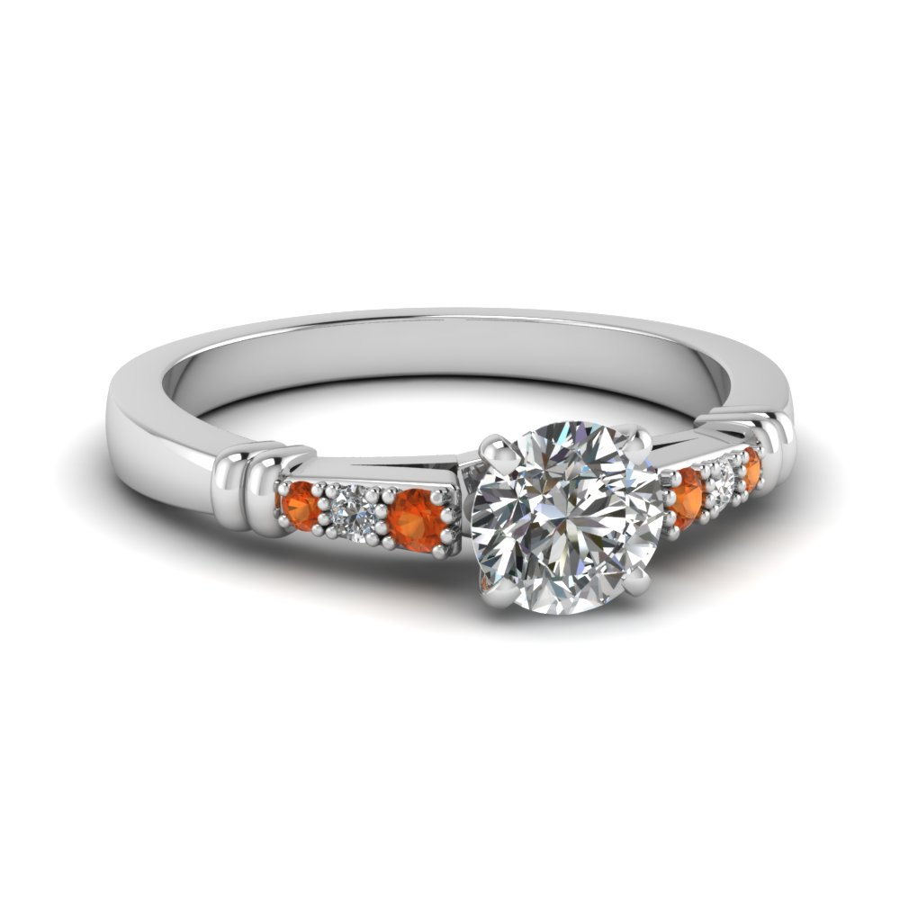 pave bar set round cut diamond engagement ring with orange sapphire in FDENS363RORGSAOR NL WG