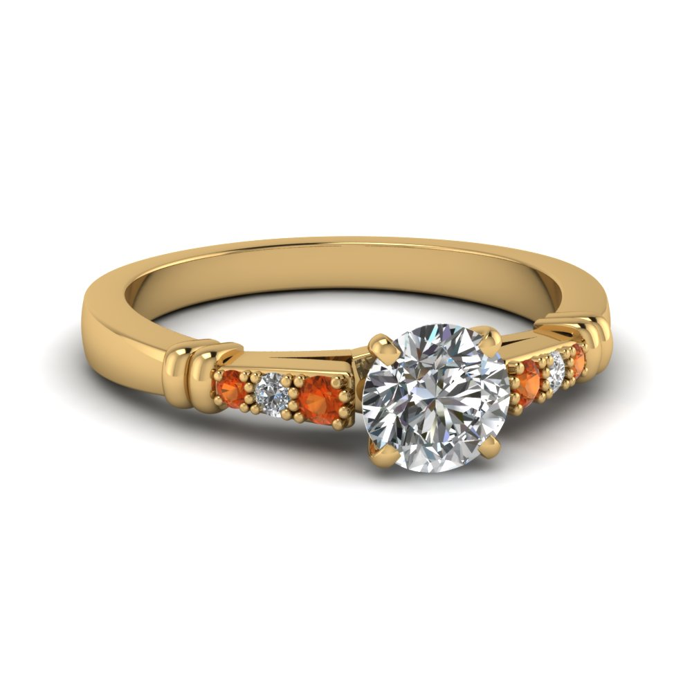 pave bar set round cut diamond engagement ring with orange sapphire in FDENS363RORGSAOR NL YG