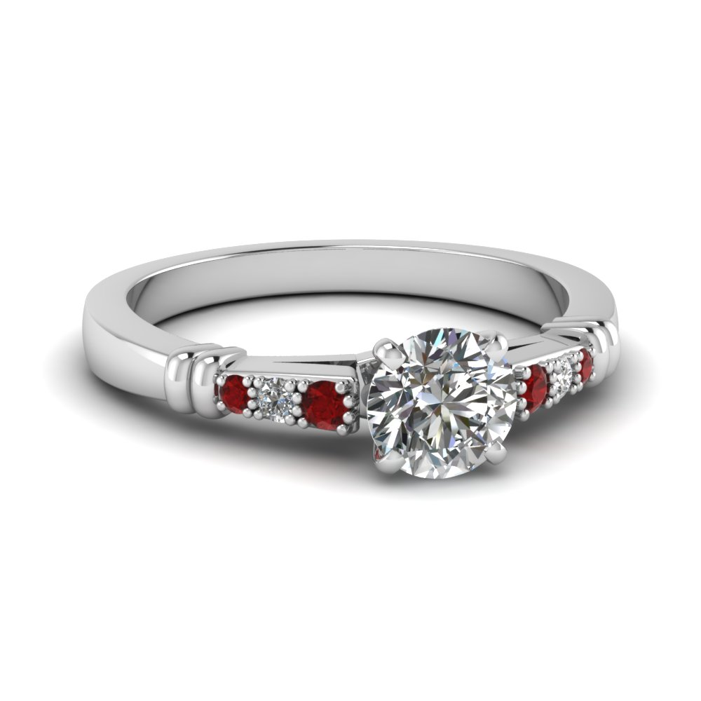 pave bar set round cut diamond engagement ring with ruby in FDENS363RORGRUDR NL WG