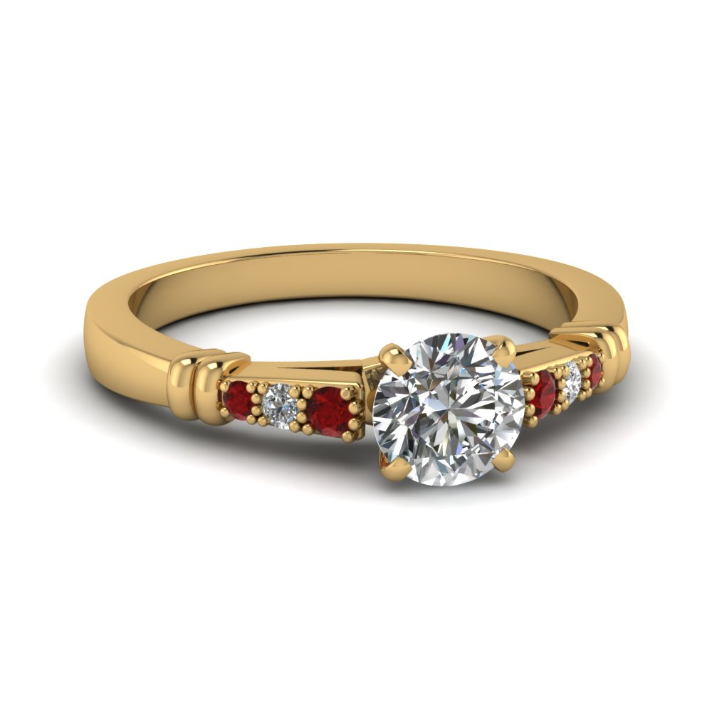 pave bar set round cut diamond engagement ring with ruby in FDENS363RORGRUDR NL YG