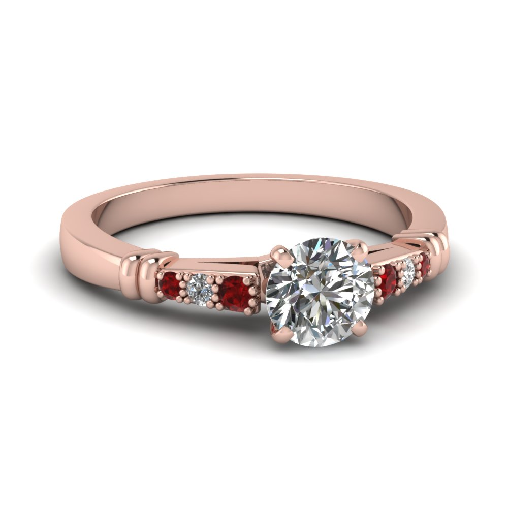 pave bar set round cut diamond engagement ring with ruby in FDENS363RORGRUDR NL RG