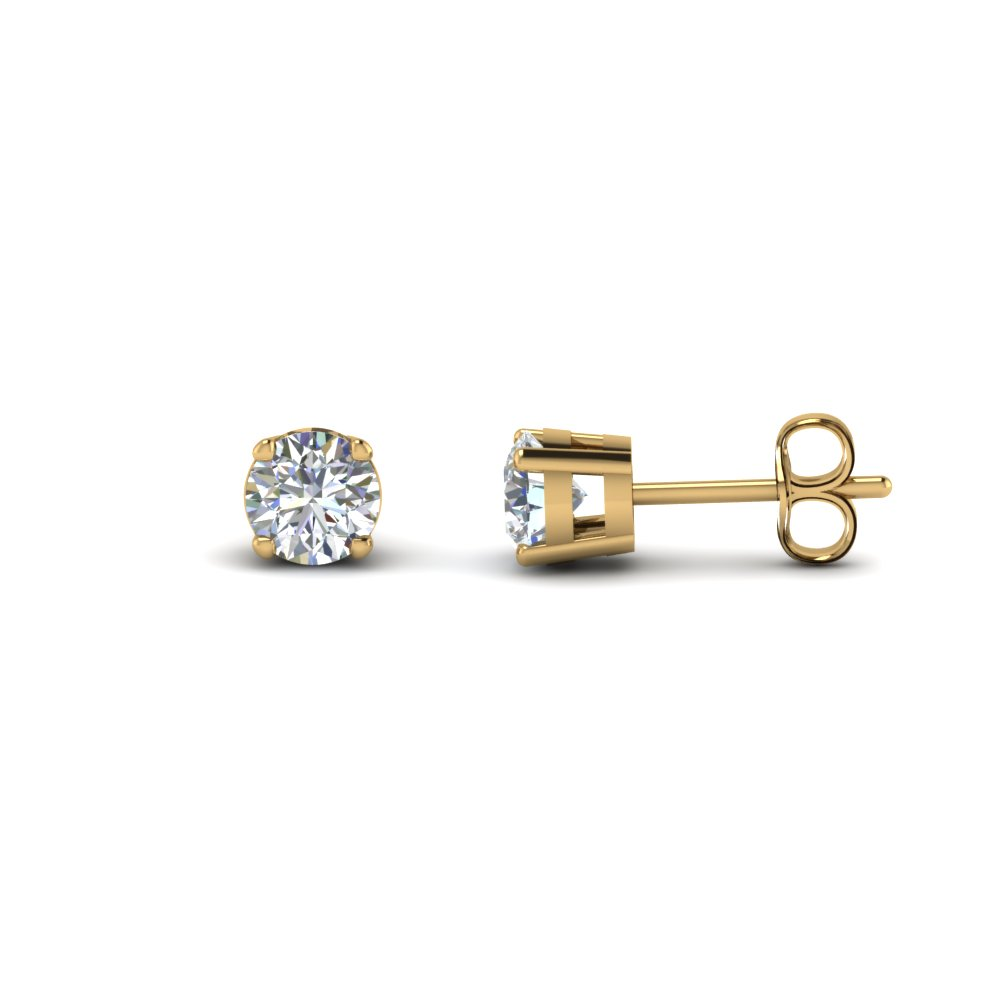 round cut diamond earring 3 carat in FDEAR4RO1.5CT NL YG