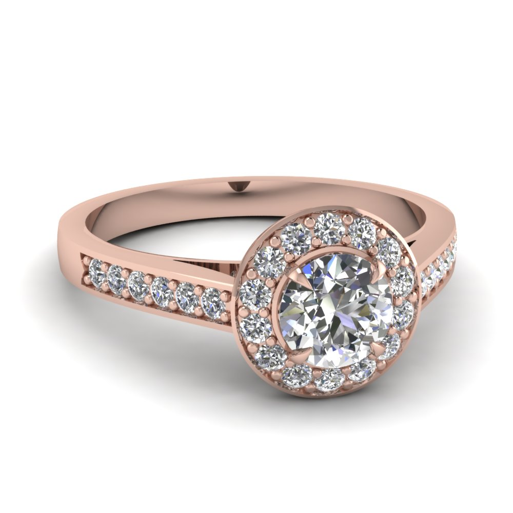 round cut diamond engagement ring in 14K rose gold FD1024ROR NL RG