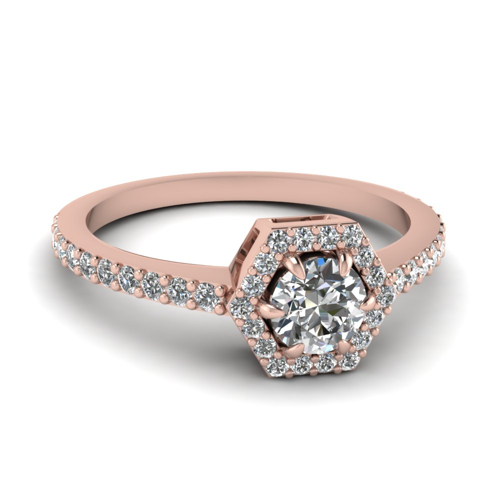 round cut diamond engagement ring in 14K rose gold FD1173ROR NL RG
