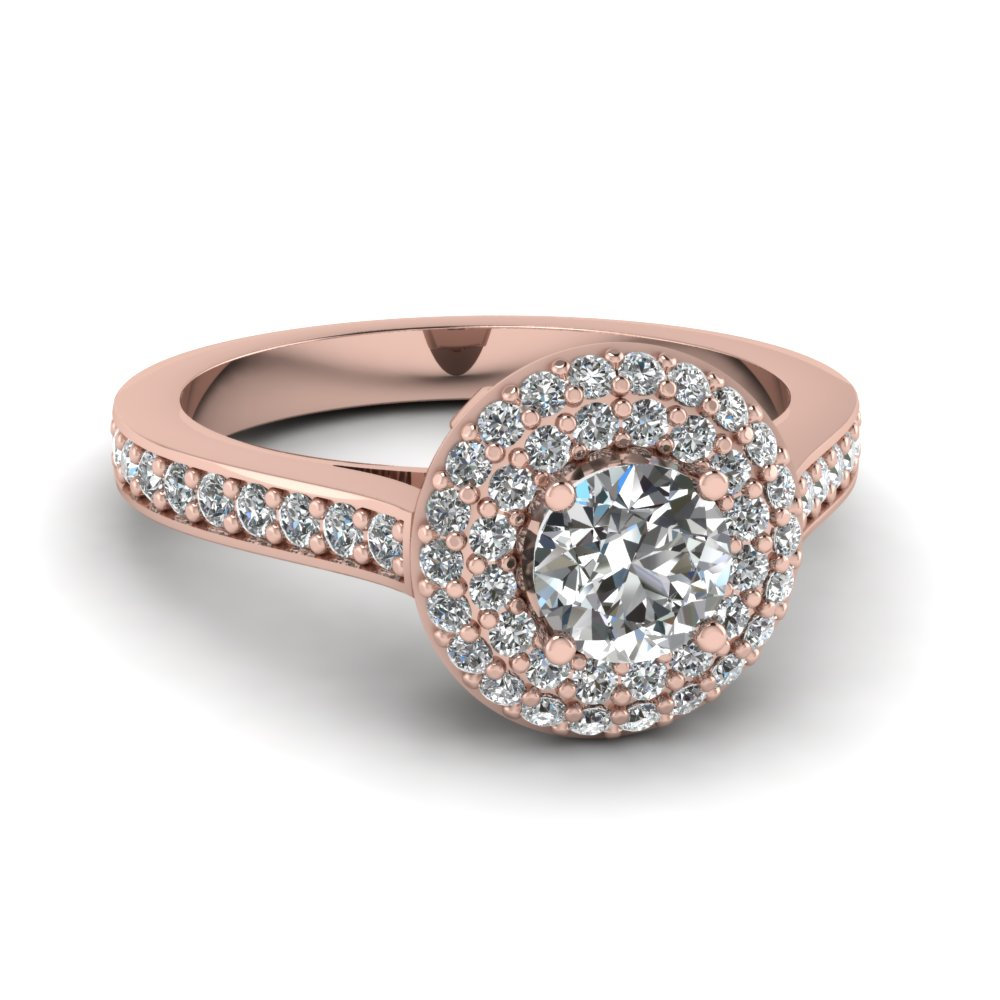 Pave Set Round Diamond Double Halo Ring