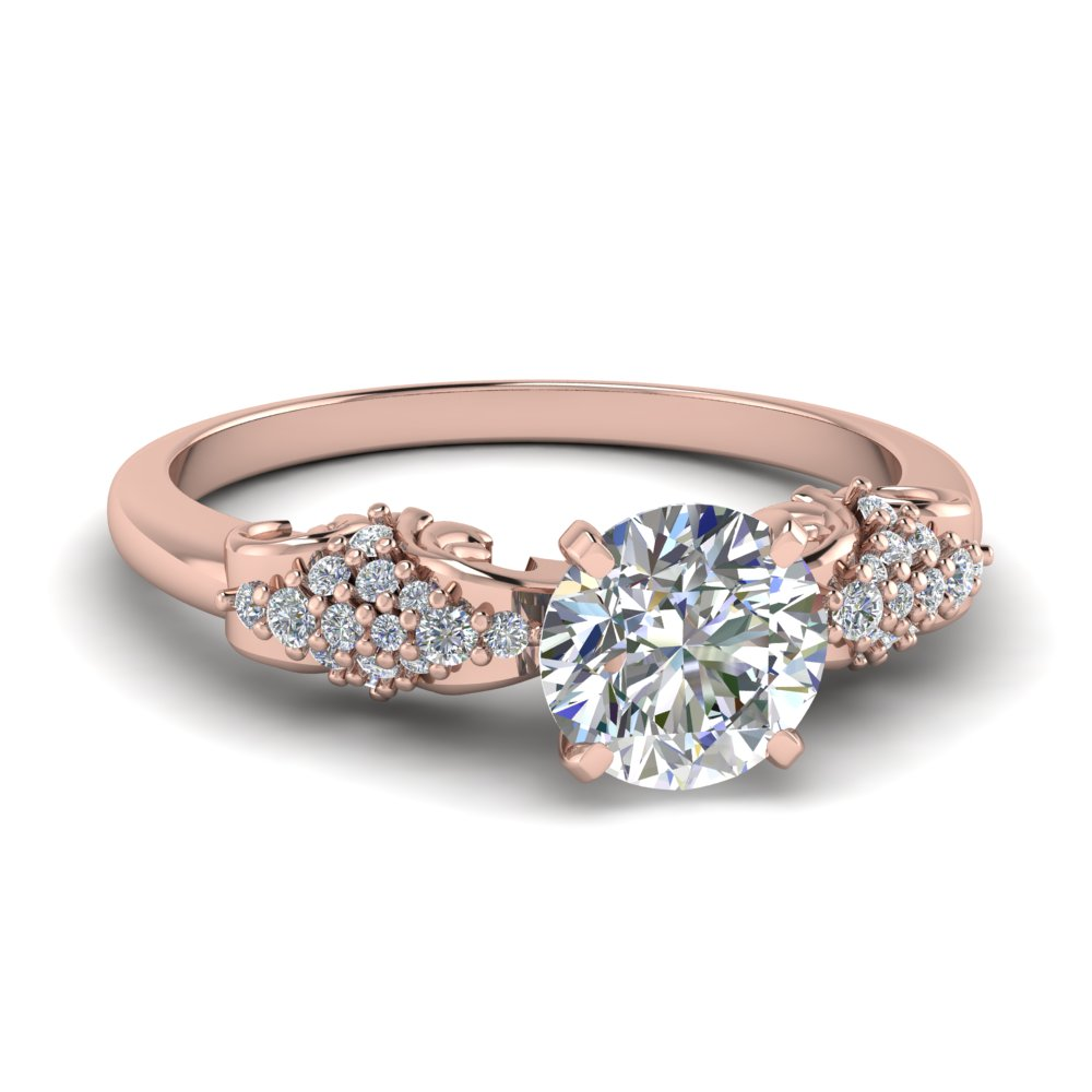 Shop vintage round diamond wedding ring in 14k rose gold at Fascinating Diamonds. This 4.5mm. Wedding Ring is simply designed to suit your persona.