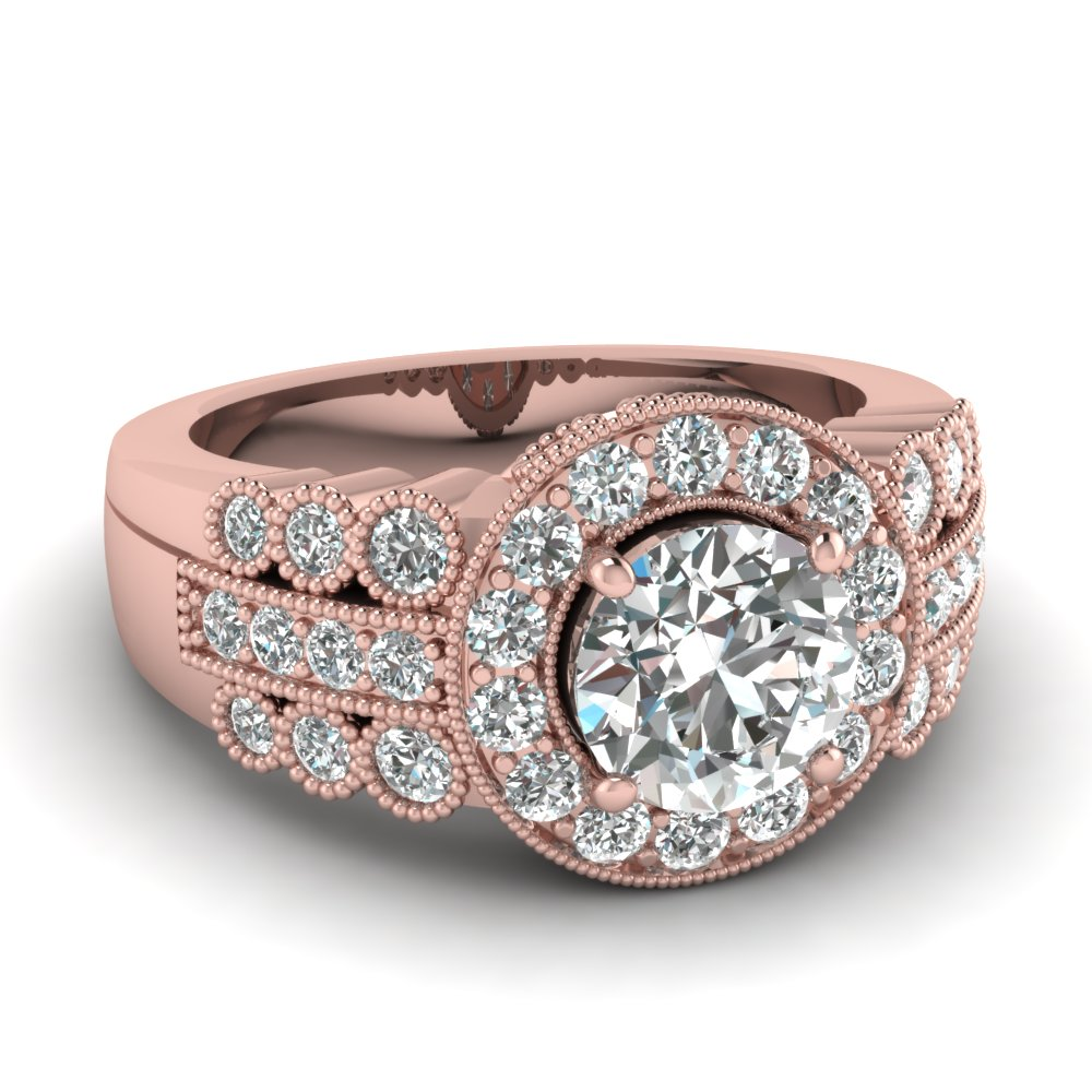 round cut diamond engagement ring in 14K rose gold FD65620ROR NL RG