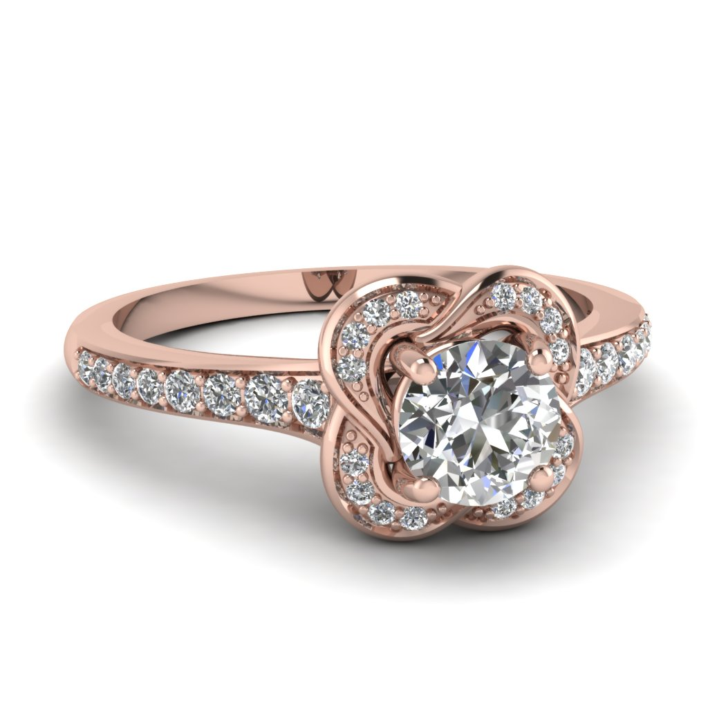 Round Diamond Flower Engagement Ring