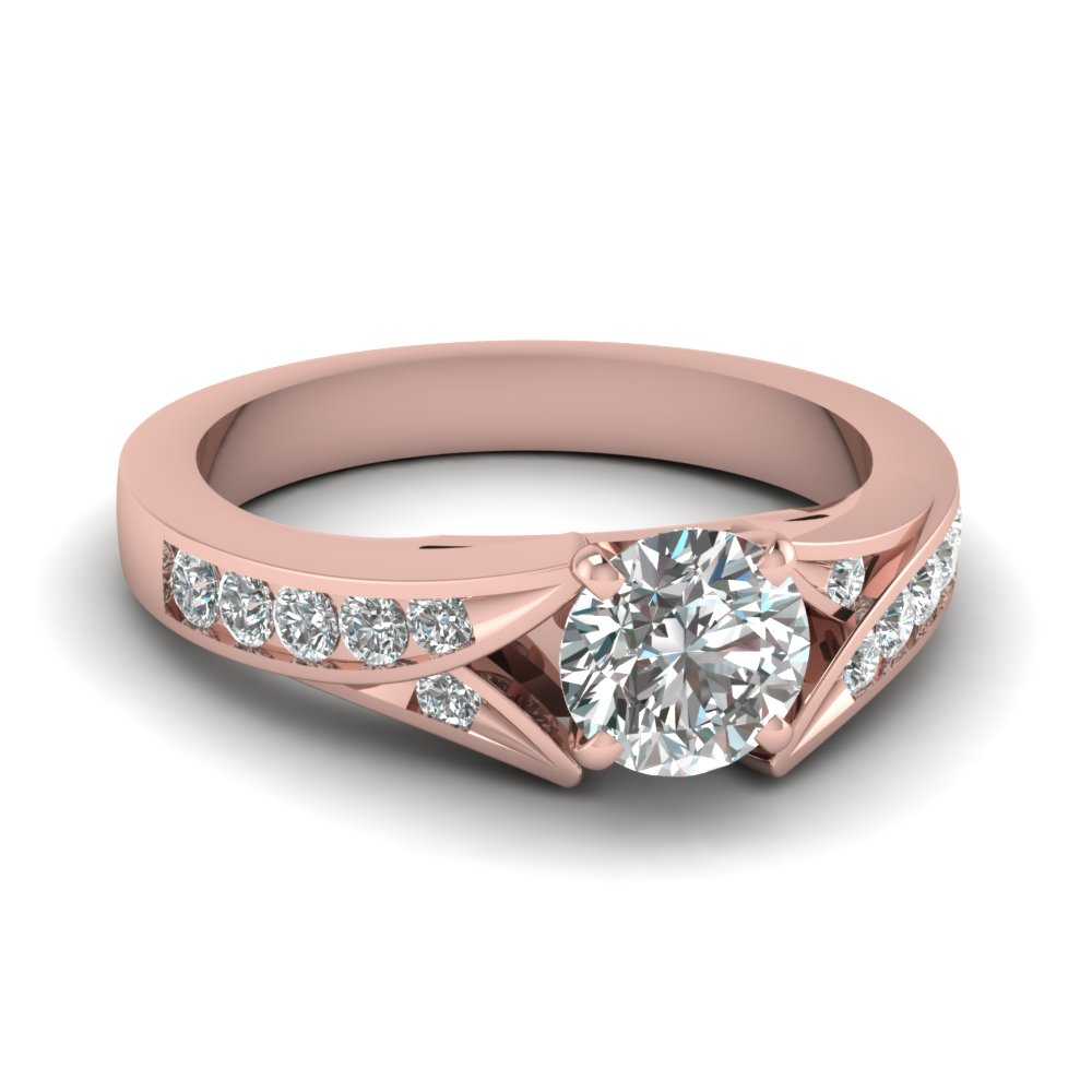 round cut diamond engagement ring in 14K rose gold FDENR1014ROR NL RG
