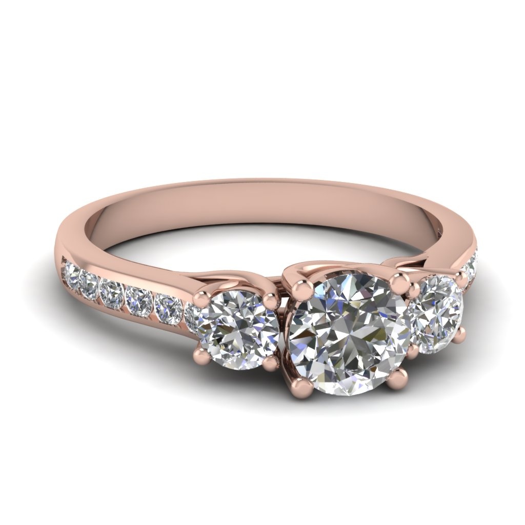 round cut diamond engagement ring in 14K rose gold FDENR6134ROR NL RG
