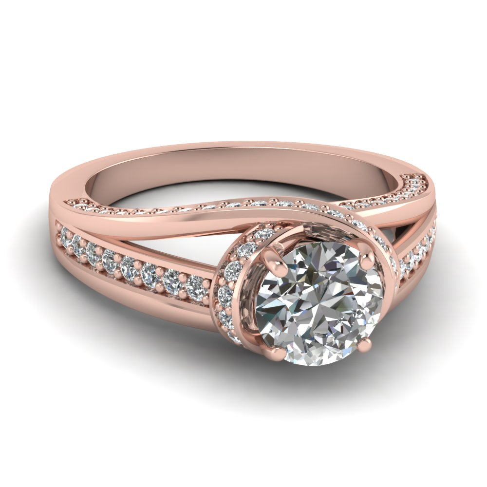 Round Cut Diamond Engagement Ring In 14k Rose