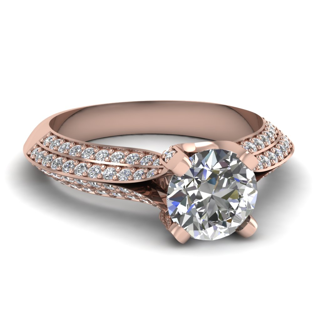 round cut diamond engagement ring in 14K rose gold FDENR9162ROR NL RG