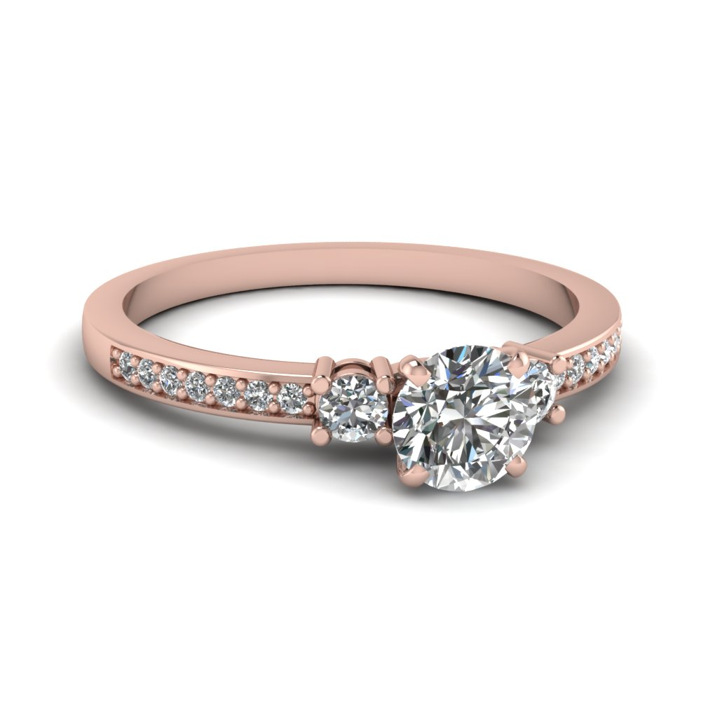 Petite Pave Trio Diamond Engagement Ring