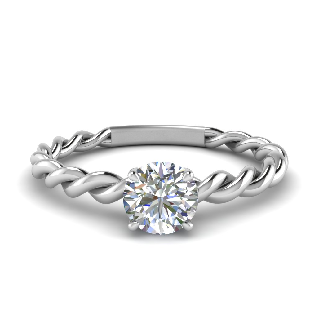0.30 ct. diamond round twisted engagement ring in FD1087ROR NL WG