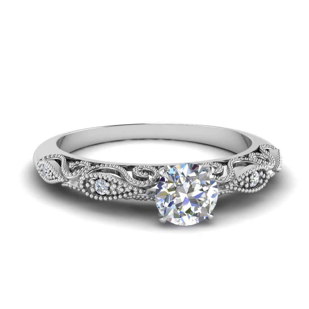 paisley round diamond engagement ring in FD69805ROR NL WG