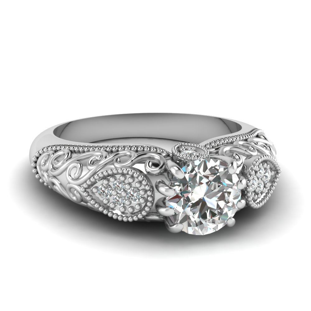 1 carat diamond vintage filigree engagement ring in FD120741ROR NL WG
