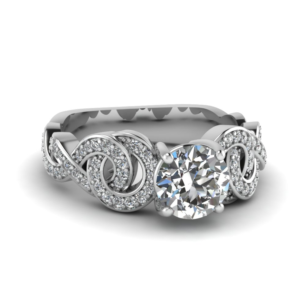 interlocking circles diamond engagement ring in FD121825ROR NL WG